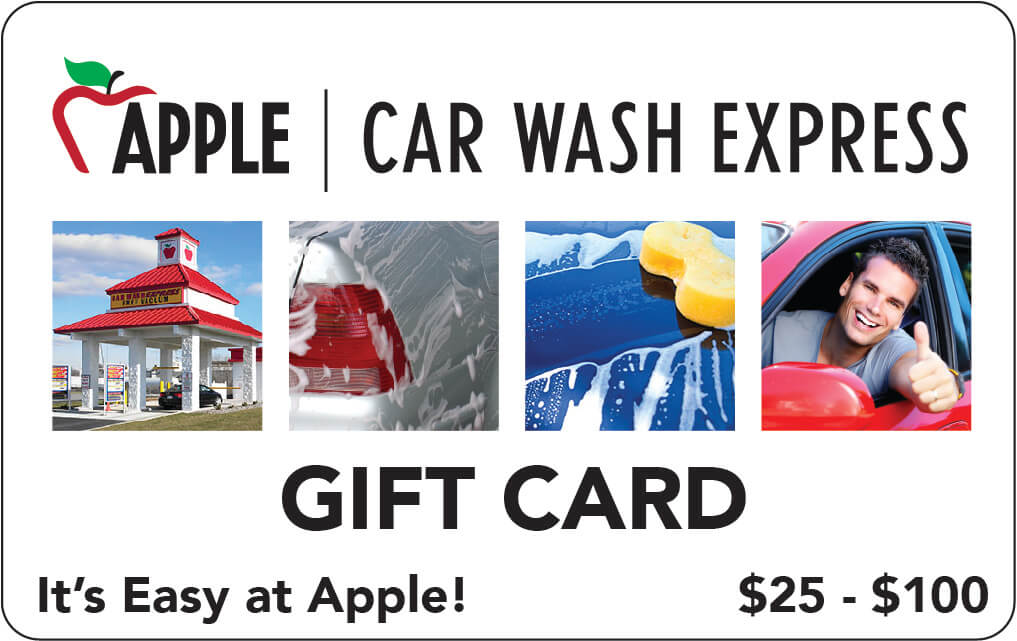 Apple Car Wash $25-100 Gift Cards